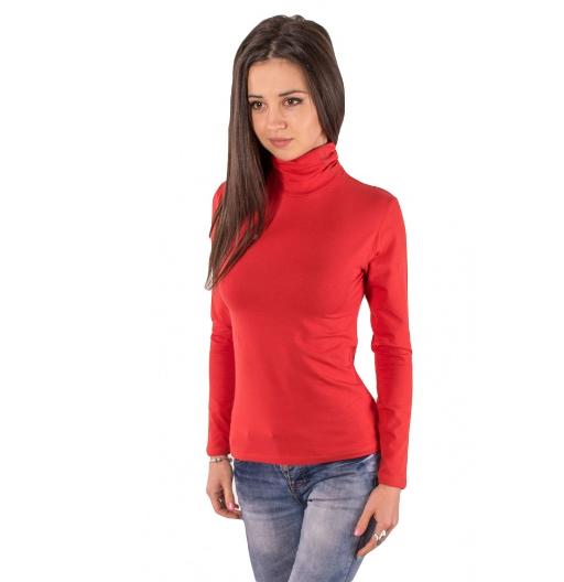 Базовый гольф женский однотонный с длинным рукавом без рисунка трикотажный стрейчевый, красный