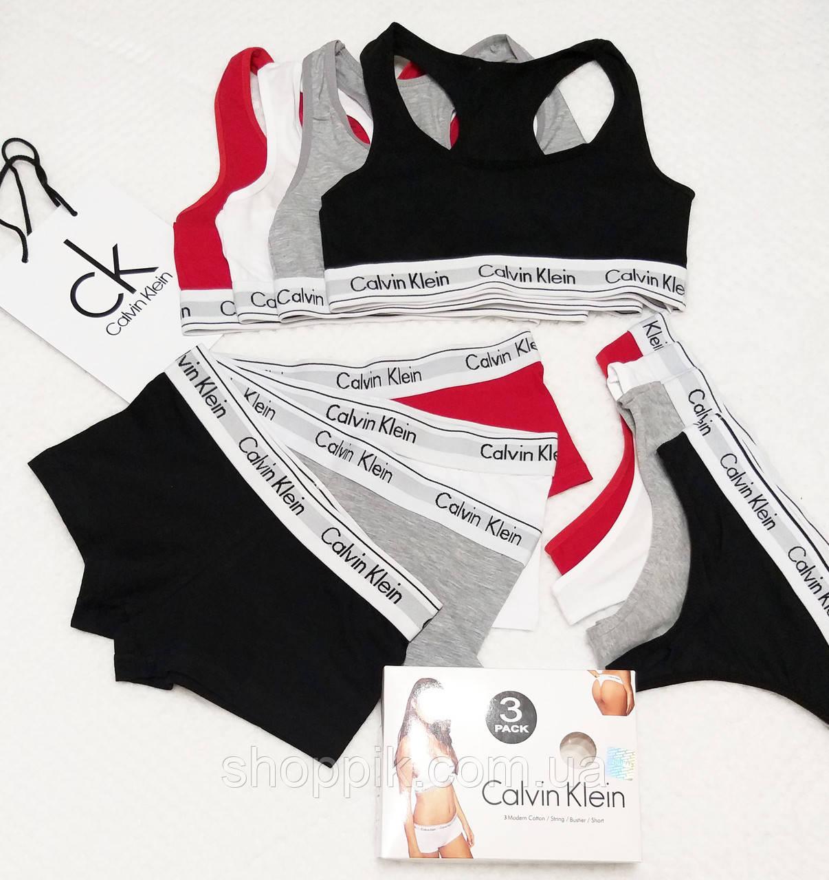 Женское белье Calvin Klein ( стринги шортики топ ) Реплика