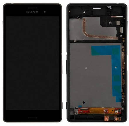Дисплей (экран) для Sony D6603 Xperia Z3 с сенсором (тачскрином) и рамкой черный Оригинал, фото 2