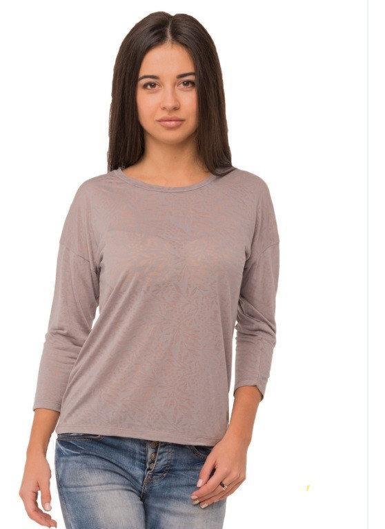 Серая футболка женская рукав 3/4 легкая вискоза деворе трикотажная