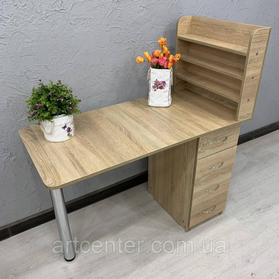 """Компактный стол для маникюра с полочками для лаков, цвет """"дуб сонома"""""""