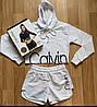 Костюм Calvin Klein ( Кофта c капюшоном и Шорты ) кроп топ, худи, hoodie РЕПЛИКА, фото 3