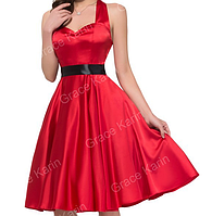 Женственное платье красное Атласное.