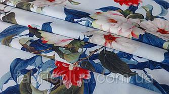 Ткань супер софт цветы на голубом 150 см