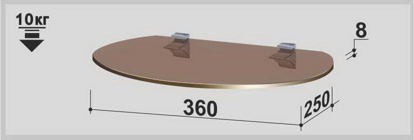 Полка стеклянная Gamma  PL3 O (250х360х8) (овальная прозрачная, графит, бронза)