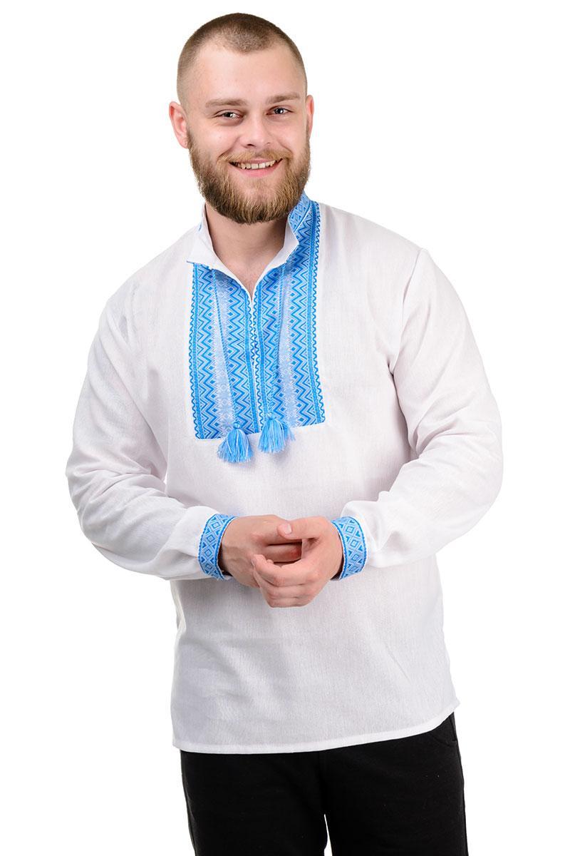 """Современная рубашка с длинным рукавом """"Вышиванка"""" голубая"""