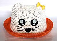 Шляпа детская с кошечкой, оранжевая (50 см)
