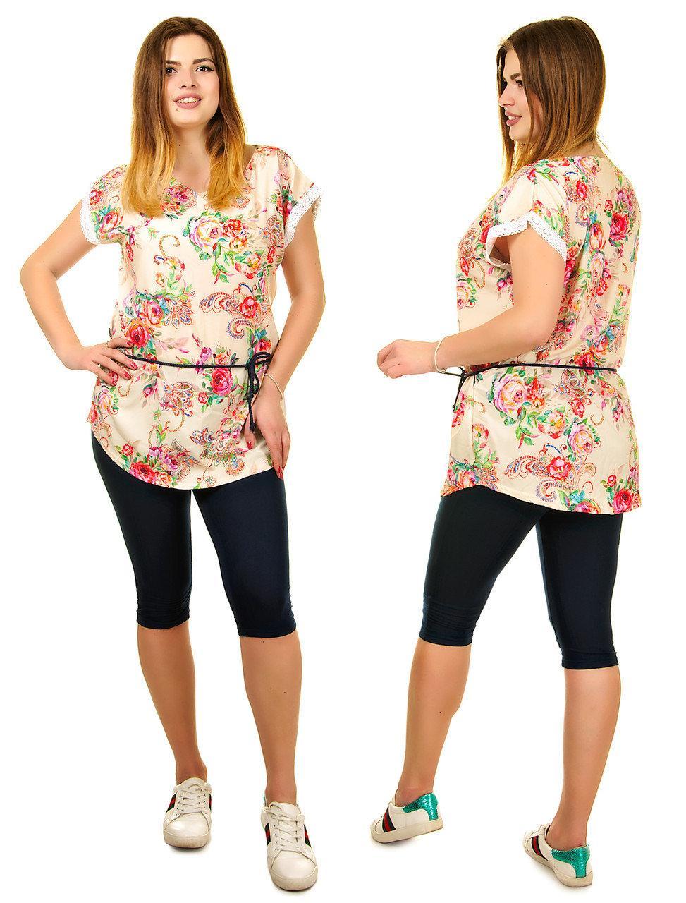 Яскравий літній спортивний костюм комплект великих розмірів туніка і модні трикотажні (батальний)