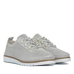 Туфли женские LIFEEXPERT (модные, серого цвета, на шнурках)