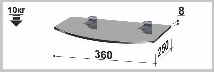 Полка стеклянная Gamma PL3 R (250х360х8) (радиусная прозрачная, графит, бронза)