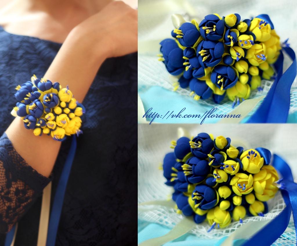 """""""Жёлто-синий жасмин"""" браслет на руку с цветами из полимерной глины, фото 1"""