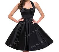Женственное платье Черное. Атласное.