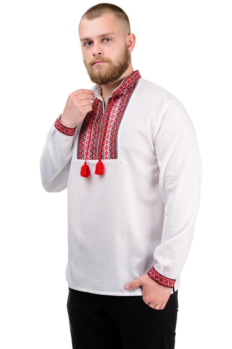 """Мужская рубашка с длинным рукавом """"Вышиванка"""" красная"""