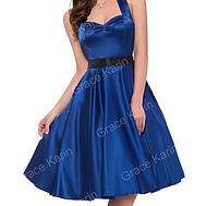 Женственное платье Синее. Атласное., фото 1