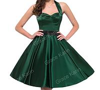 Женственное платье Зеленое. Атласное., фото 1