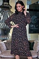 Женское классическое платье, чёрное с цветочным принтом, молодёжное, элегантное, винтажное, ретро, летнее