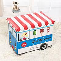 """Ящик-пуф для игрушек """"Фургон с мороженым, синий"""", фото 1"""