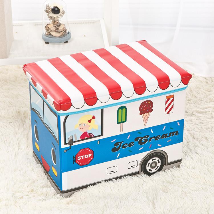 """Ящик-пуф для игрушек """"Фургон с мороженым, синий"""""""