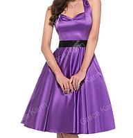 Женственное платье Фиолетовое. Атласное., фото 1