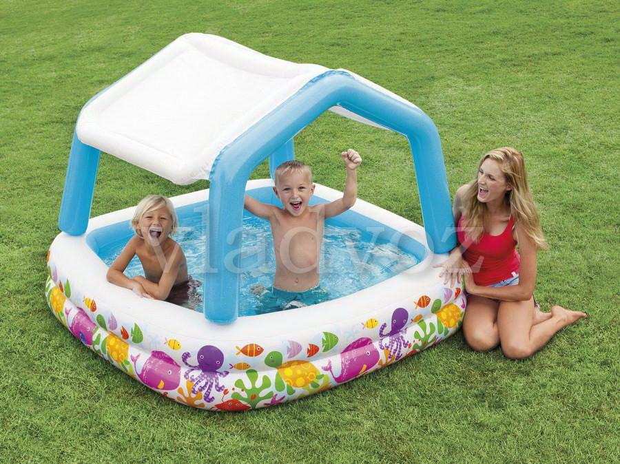 Детский надувной бассейн 57470 intex аквариум съёмная крыша