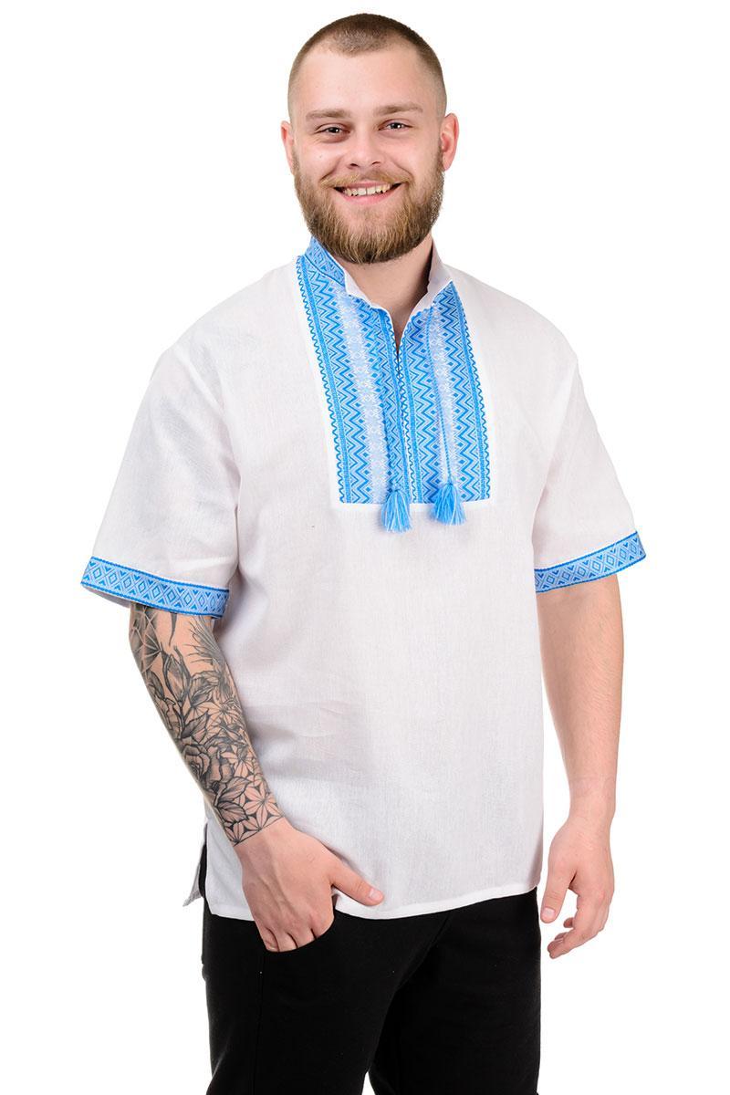 """Рубашка мужская """"Вышиванка"""" голубой"""