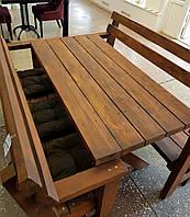 Мебель дачная натуральное дерево комплект (стол+2 скамьи) б/у
