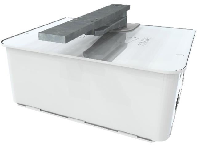 Фундаментная коробка FROG-CFNI изготовлена из стали AISI 304, с фиксирующим рычагом, скобой для крепления ворот и винтом для регулировки точки ограничения открытия