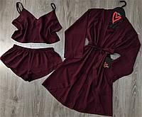 Однотонный хлопковый комплект халат+топ+шорты, одежда для дома.