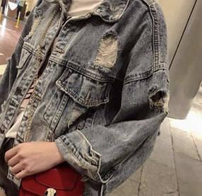 Джинсовка c потертостями oversize/ джинсовая куртка