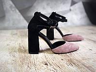 c1ff55345 Женские замшевые туфли с переплетом и ремешком на толстом каблуке черный с  визоном