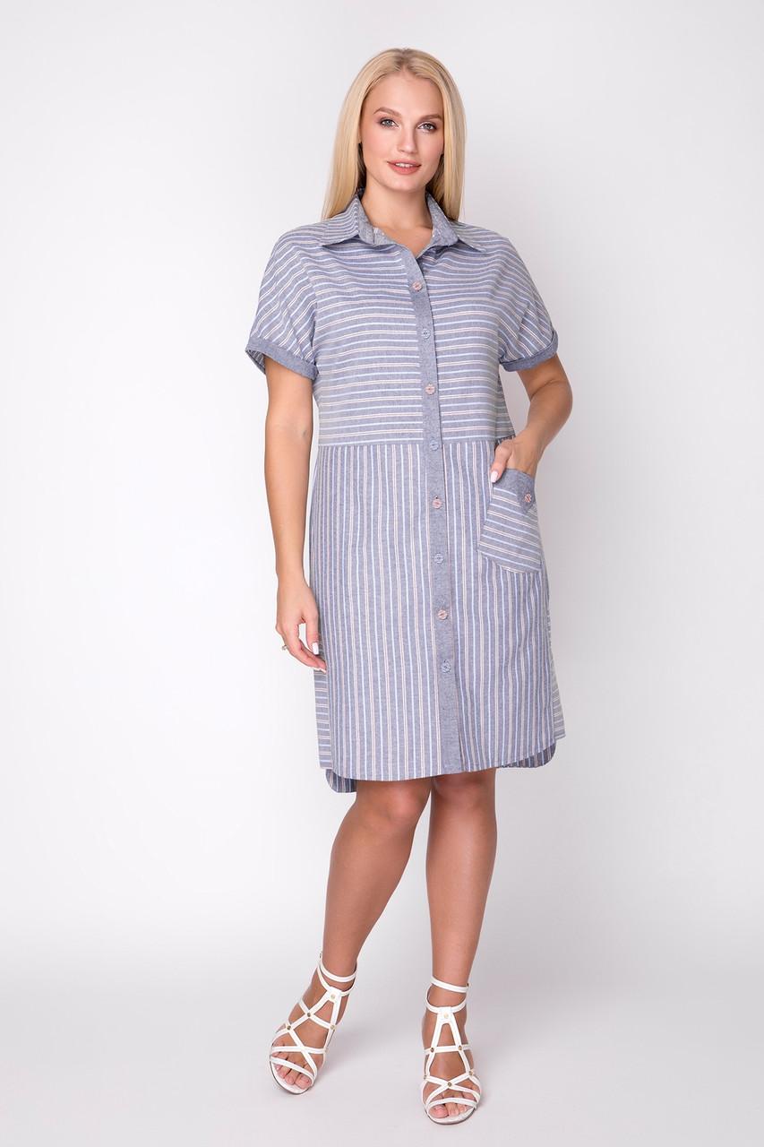 Платье женское летнее, лен, размер: 48-54