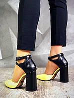 161a370bf Черные кожаные туфли с желтым носком с переплетом и ремешком на толстом  каблуке