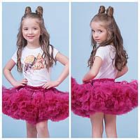Яркий комплект малиновая юбка + футболка с принтом zironka