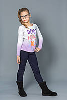 Модные детские брюки для девочек с начесом синие (от 3 до 7 лет) (КАР 03-00559-2)
