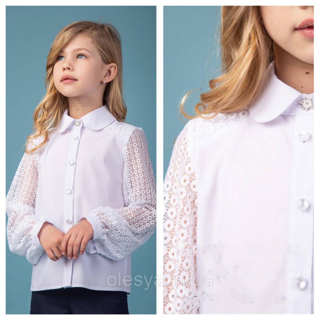 Блуза школьная красивая для девочек Albina TM BrilliAnt Размер 122