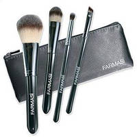 """Набор кисточек для макияжа, в косметичке Farmasi """"Черные"""" (9700277)"""