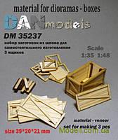 Материал для диорам: набор для изготовления 3 деревянных ящиков