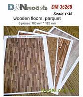 Материал для диорам из бумаги: деревянные полы, паркет, 6 шт, 180x125 мм