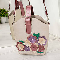 Сумка с с объемными цветами  и пряжкой серая, фото 1