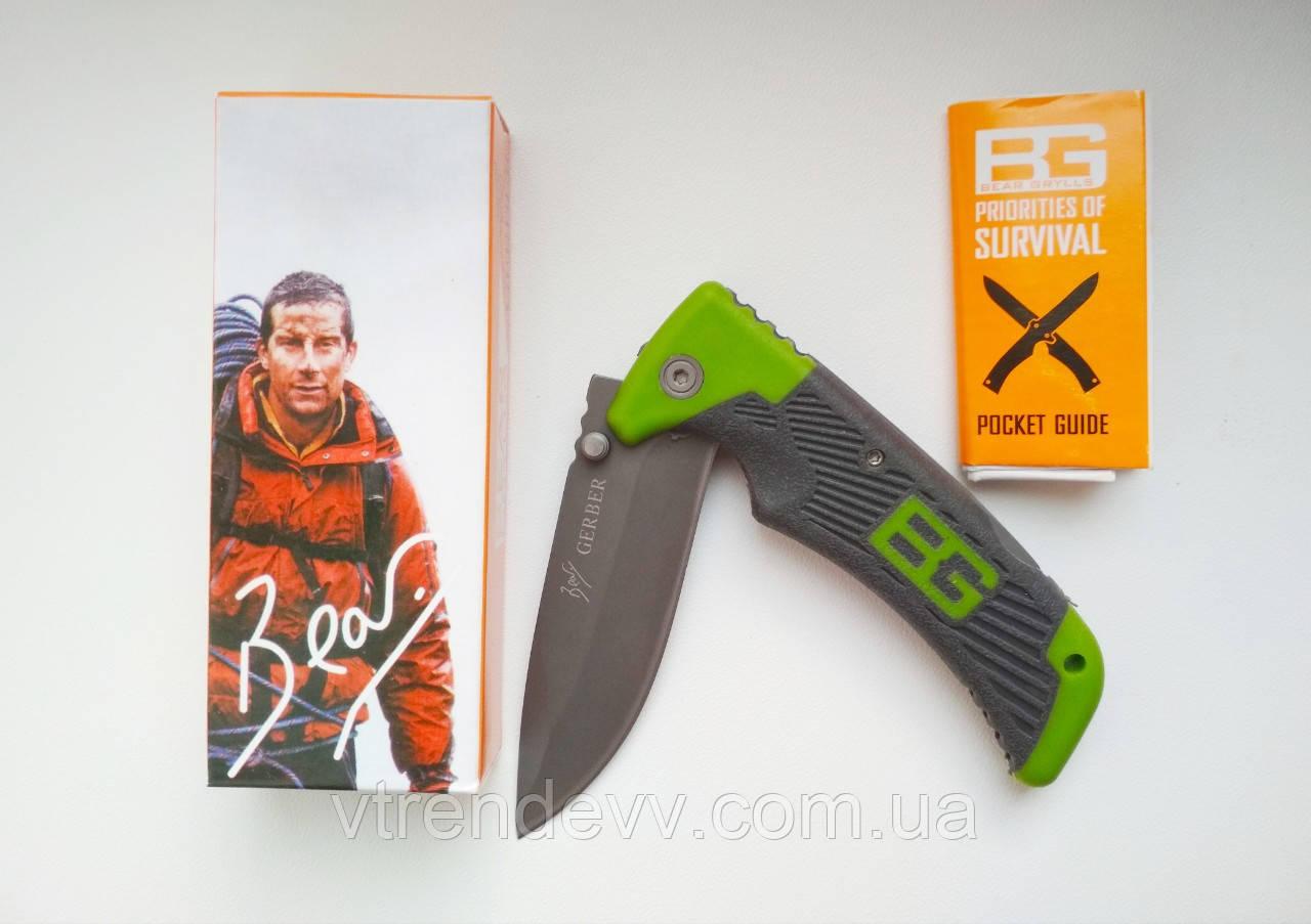 Туристический складной нож Gerber Bear Grylls Scout 18,5 см серо-зеленый