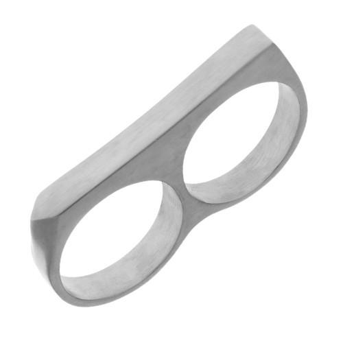 Кольцо-кастет на два пальца из стали мужское матовое 165042