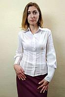 """Деловая белая женская блузка с рукавом """"буф"""" Р01"""