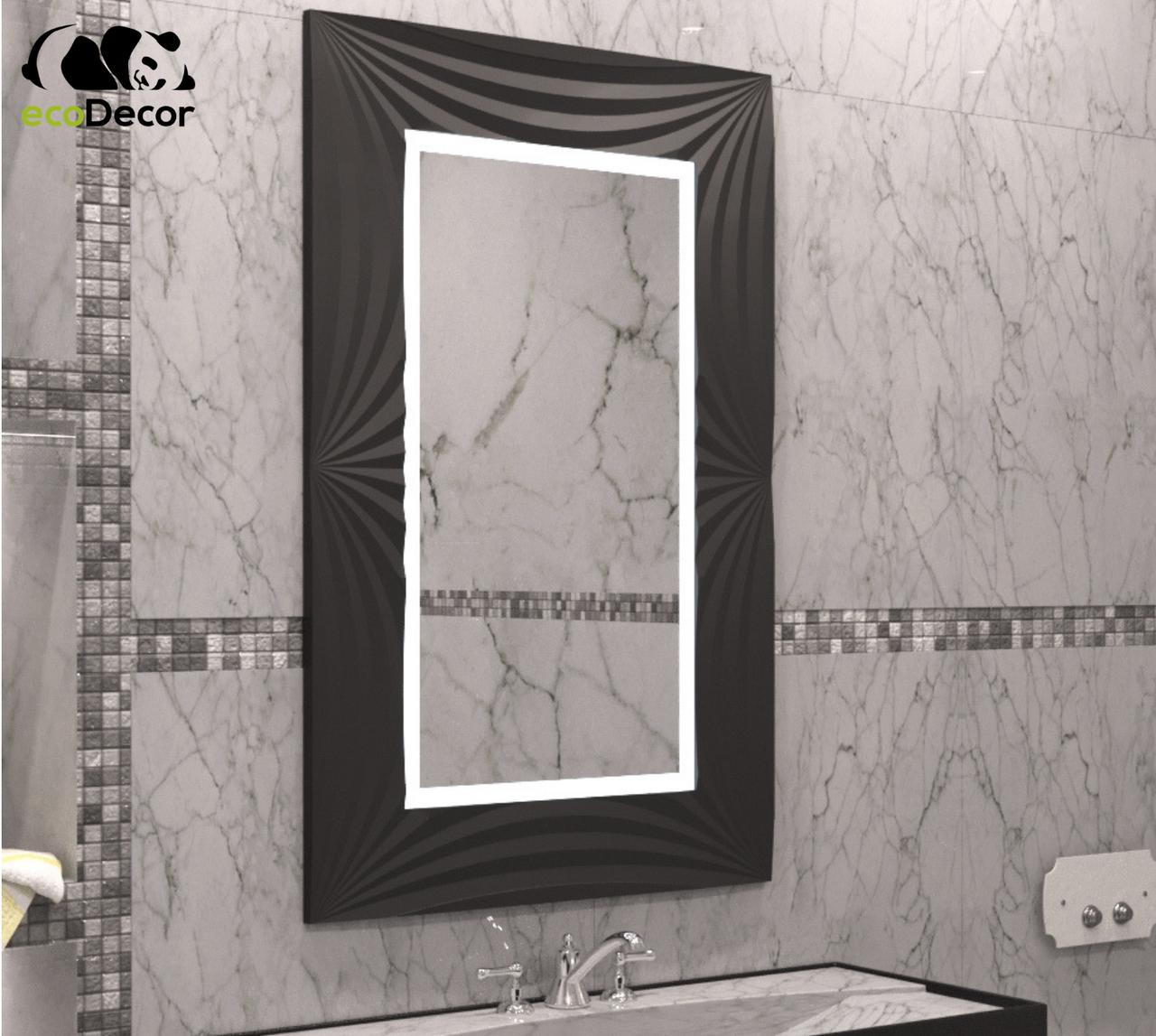 Зеркало прямоугольное с LED подсветкой в черной раме Amaro