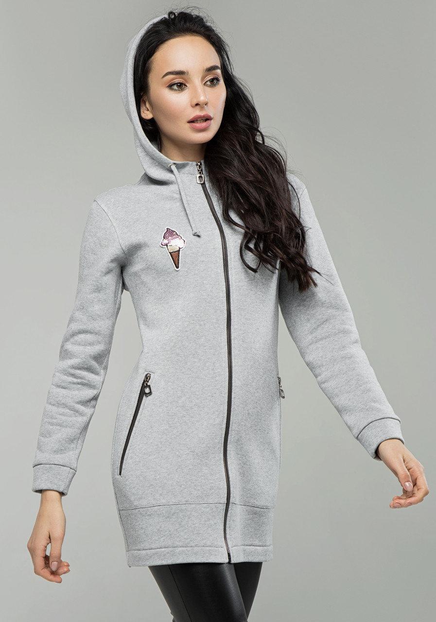Худи женское с капюшоном, теплая кофта спортивная на флисе, серый