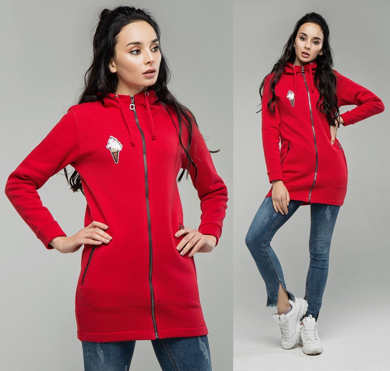 Худи женское с капюшоном, теплая кофта спортивная на флисе, красный