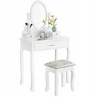 Туалетный столик Wooden Dresser R2 белый + табурет (8054)
