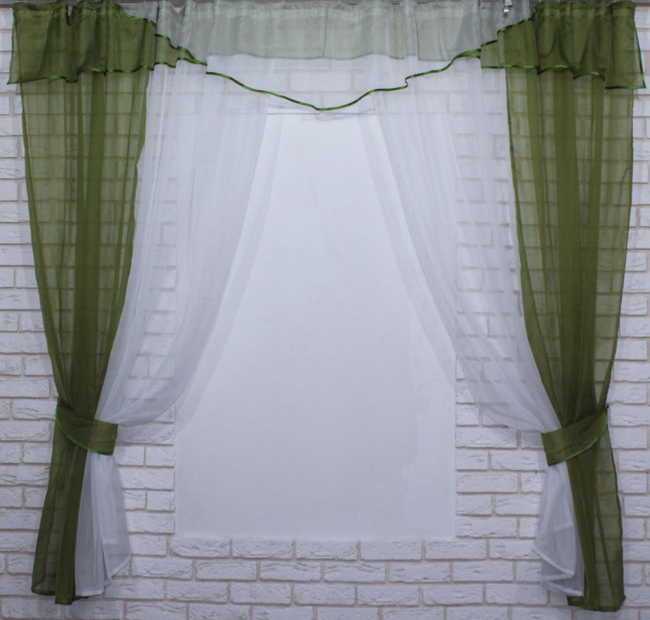 Комплект кухонные шторки с аркой и подвязками №66 Цвет оливковый с белым