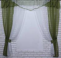 Комплект кухонные шторки с аркой и подвязками №66 Цвет оливковый с белым, фото 1