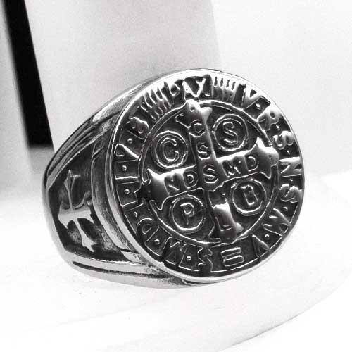 Мужское кольцо-печатка из медицинской стали Крест 20 мм 165045