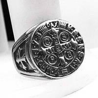 Мужское кольцо-печатка из медицинской стали Крест 20 мм 165045, фото 1